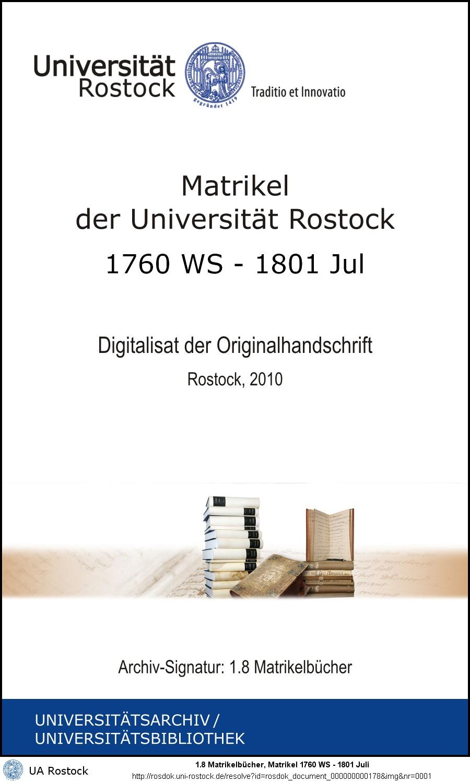 Matrikel der Universität Rostock: 1760 WS - 1801 Juli